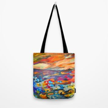 My Village | Colorful Small Mountainy Village Tote Bag by Azima