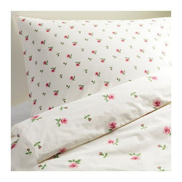 EMELINA KNOPP Quilt cover and 2 pillowcases - white/pink - 150x200/50x80 cm - IKEA
