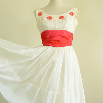 1950s Dress / 50s White and Res Chiffon Dress and Slip / Sequin Bodice