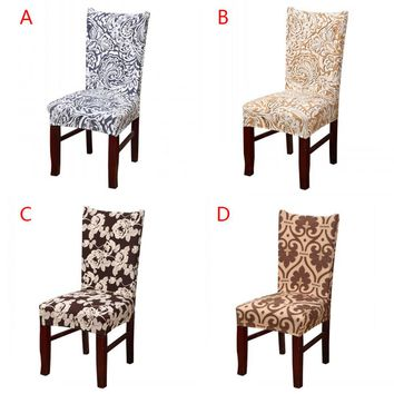 Polyester Spandex Dining Chair Covers For Wedding Christmas Party Chair Cover Stretch Elastic Slipcover Dining Chair Seat Covers