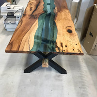 River Glass Inlay Dining Table,Pecan Live Edge,Dining Table