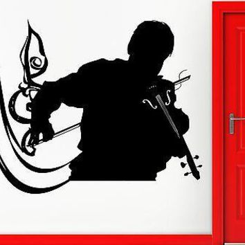 Wall Sticker Vinyl Decal Man Playing Violin Music Decor Note Romantic Unique Gift (z2237)