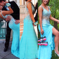Sexy Prom Dresses  Sexy Mermaid 2017 Fashion Slit Side Long Crystal Beading Mermaid Spaghetti Strap Chiffon Blue Prom Dress