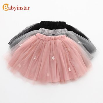 Babyinstar 2017 New Girl's Mesh Skirt Cute Star Children's Clothing Summer Solid Kids Bottom Outerwear Fashion Girl Tutu Skirts