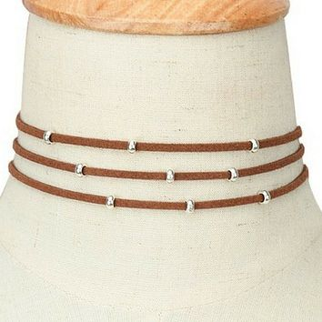 Brown Suede Multi Strand Choker with Silver Beads