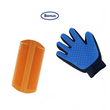 2 Pack  Flea Comb for Dogs and Cats with Pet Grooming Glove for Dog, Shedding Gloves Brush