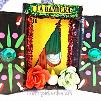 La Bandera Loteria Ornament / Assemblage / Collage / Paper Mache