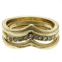 Gold Pointed Rounds Ring (3 piece)