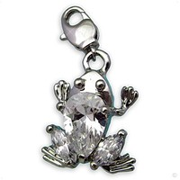 Beggar Charms pendant frog with cristal white dangle #9417, extra large, handbag Charm | Phone Char
