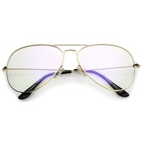 Retro Large Double Nose Bridge Slim Temple Clear Lens Aviator Eyeglasses 61mm