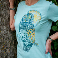 Wise Mr. Owl - women's owl bird t-shirt in seafoam blue or ocean blue