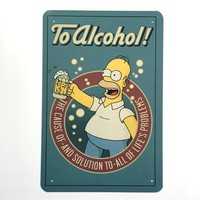 The Simpsons Vintage classic metal sign retro metal painting cartoon beer wall stickers home decor cafe home wall decoration