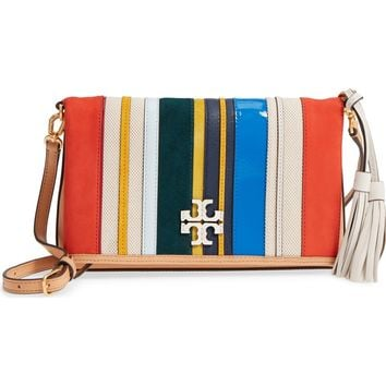 Tory Burch McGraw Balloon Stripe Leather & Genuine Calf Hair Foldover Crossbody Bag | Nordstrom