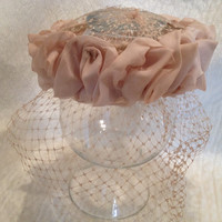 Vintage Veiled Hat with Tulle Swirls