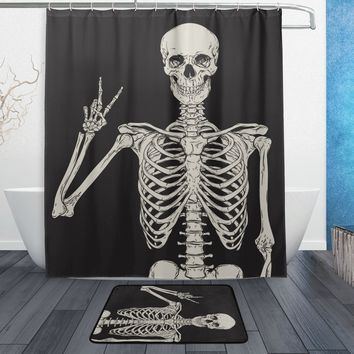 Human Skeleton Shower Curtain and Mat Set, Black and White Skull Waterproof Fabric