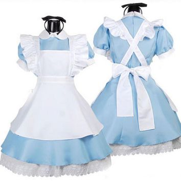 4-15Y Kids Girl Alice Maid Cosplay Carnival Costume Child Fancy Dress F Christmas Halloween Fantasia Infantil Cheap Performance
