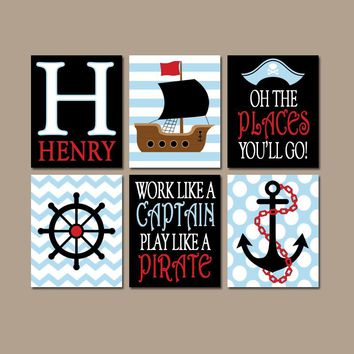 PIRATE Wall Art, Canvas or Prints, Baby Boy Nursery, Captain Quote, Pirates Ship Wheel Anchor, Navy Red Set of 6 Big Boy Bedroom Decor