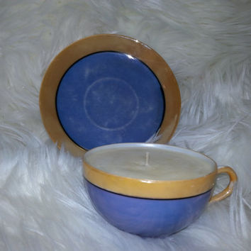 Vintage Blue and Gold Handpainted, Teacup  Soy Wax Candle