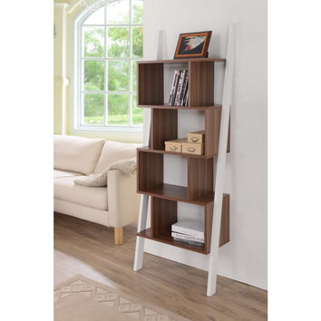 Danbury Contemporary 5-shelf 2-tone Bookshelf Display Stand