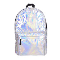 2016 New leather backpack Hotselling Fashion Hologram Backpack For School Student Women's Laser Silver Color Holographic Bag