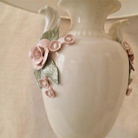 Vintage Porcelain Capodimonte style table lamp Hollywood Regency Applied Pink Flowers Grecian Urn Body, Victorian, Romantic (shade not incl)