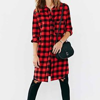 BDG Buffalo Check Tunic Top- Red