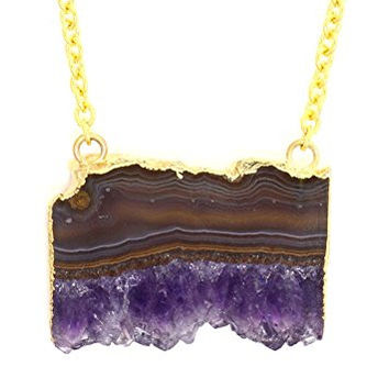 Druzy Agate Slice Necklace Purple Layered Geode Crystal Block Pendant NT33 Gold Tone Fashion Jewelry