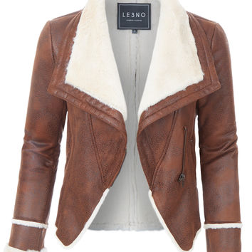 LE3NO Womens Asymmetric Sherpa Lined Faux Leather Moto Biker Jacket