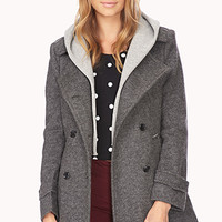 FOREVER 21 Street-Chic Hooded Trench Coat Charcoal/Grey