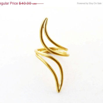 ON SALE Gold cocktail ring abstract design - 24K gold plated ring -  statement gold ring - gold plated brass ring -