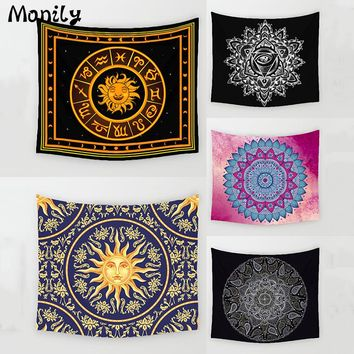 Monily Bohemia Polyester India Mandala Flower Printed Abstract Hanging Wall Tapestry Home Decor Yoga Mat Living Room Decoration