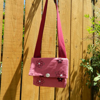Pink Corduroy with Blooms Embellished Envelope Cross Body Bag with Shoulder Strap Lightweight