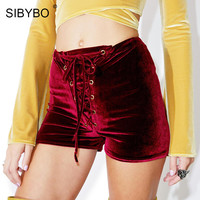 Sibybo Red Black Velvet Shorts Casual High Waist Drawstring 2017 New Autumn Winter Shorts Sexy Skinny Lace Up Women Shorts