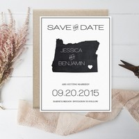 Chalkboard Oregon Save the Date Template