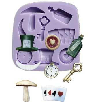 Fondant Cake Silicone Molds Alice In Wonderland Cupcake Sugarcraft Mould Chocolate Stenci Cozinha Bico Russo Baking Tools