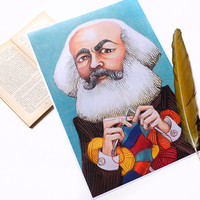 PRINT - Knitting Marx- Only for revolutionary knitter - printed from original oil pastel portrait - 11x17   inches