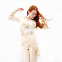 Vintage fringe pantsuit, ivory white pants set, high-waist bellbottoms, crop top outift, boho retro diva RARE S Emily
