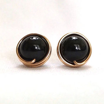 Black Pearl Stud Earings, Gold Filled Post Earrings, Black Earring Stud, Wire Wrapped Jewelry Handmade, Swarovski Black Gold Earrings