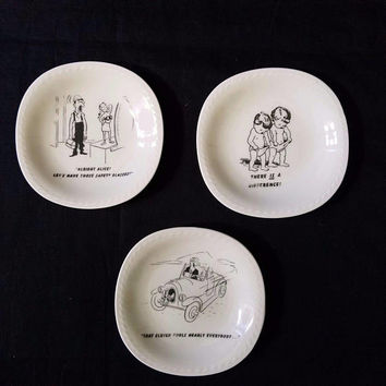 Trinket Dishes Schwarzenhammer Bavaria Germany 3  Novelty Pun Plates Adult Humor