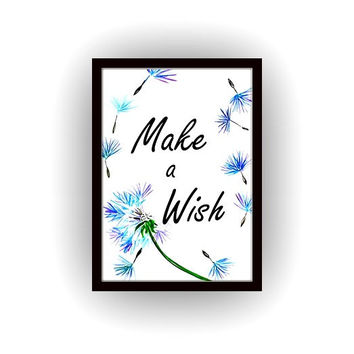 Make a wish, Printable Wall Art,watercolor dandelions painting, home decor, decal, Quote decals, bathroom print, nursery decal inspirational