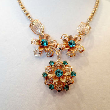 Vintage Gold Filligree Necklace with Ornate Flowers and Faux Blue Topaz Rhinestones, Vintage Jewelry, Prom Bridal Jewelry