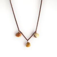 Agate gemstone necklace, copper chain necklace, agate beads necklace, minimal jewelry, short necklace, earth tone necklace, brown necklace