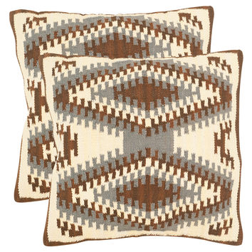 Safavieh Pillows Geometric Kilim Pillows (Set of 2) - Brown