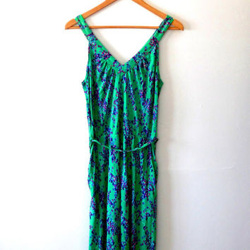 Ditsy floral dress / emerald / green dress / purple / pink / blue / v neck / low back dress / tie dress / vintage / 80s / summer dress