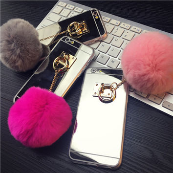 Phone Cases For iPhone 7 6S 6 6S Plus 5 5S SE Fashion Luxury Metal Rope Mirror TPU Cute Rabbit Fur Ball Cover For iPhone 7 Case