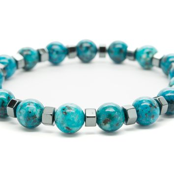 Turquoise Jasper Gemstones Beaded Bracelet for Men and Women