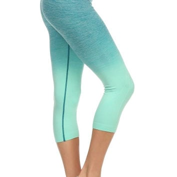 Ombre Capri Leggings (Mint)