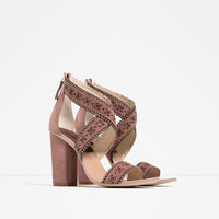 SCALLOPED HIGH HEEL SANDALS