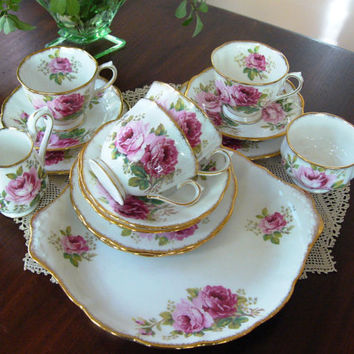 Royal Albert Tea Set ... American Beauty Pattern ... English Bone China ... Wedding Gift ... Tea Set For 4 ... Pink Rose Pattern
