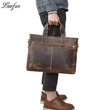 Vintage Mens Genuine Leather briefcase Cowhide Business laptop bag Cow leather PC Tote Crazy horse leather office handbag